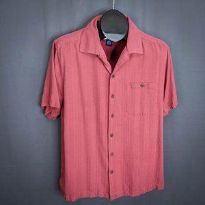 Caribbean Joe Mens Shirt Medium Brick Red Short